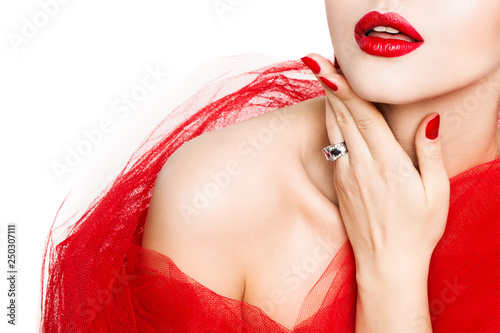 Leinwandbild Motiv Lips Nails, Red Lipstick and Polish, Woman Beauty Make Up, Beautiful Girl Showing Manicure and Makeup