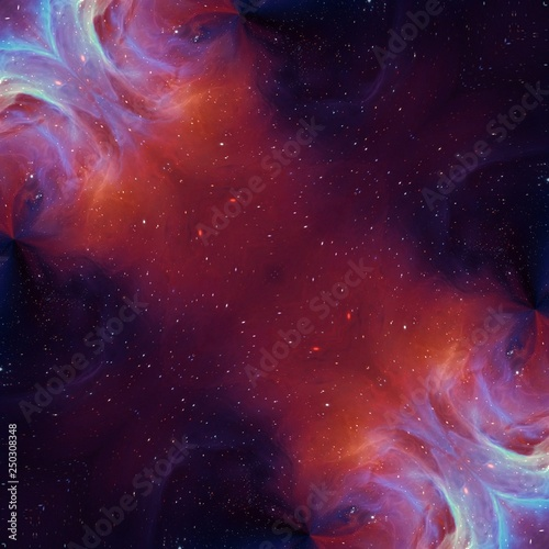 Abstract painting graphic fractal art. Creative template for decor backgrounds of covers, web banners, invitations or cards. Surreal bright print in digital oil and acrylic mixed impressionism style. © Avgustus