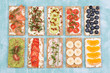Leinwandbild Motiv Crisp bread sandwiches with various toppings
