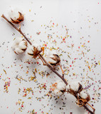 cotton branch with lavender leaves and petals
