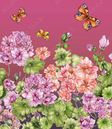 Beautiful floral background with pelargonium flowers and butterflies. Seamless botanical pattern, border. Watercolor painting. Hand painted floral illustration. © katiko2016