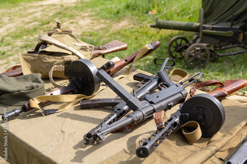 Various rifle weapons of the Second World War in the partisan camp © DmyTo