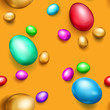 Seamless pattern of realistic colored Easter eggs with shadows on orange background