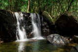Waterfall in the green forest. Suoi Tranh, Phu Quoc island in Vietnam. Beautiful nature landscape background