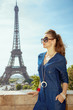 tourist woman at Trocadero overlooking tower Eiffel tower
