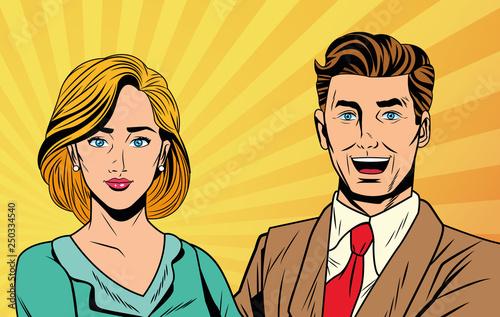 Pop art business couple
