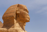 Great Sphinx in Giza against blue sky, Egypt