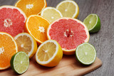 Mix of citrus fruits cut in different forms