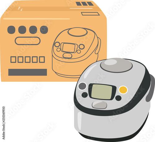 炊飯器と段ボール箱