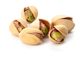heap of pistachio isolated on white background