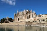 La Seu Cathedral Palma de Mallorca in Spain on a sunny day with blue sky