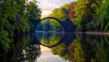 Rakotz Bridge (Rakotzbrucke, Devil's Bridge) in the spring scenery .Kromlau, Saxony, Germany.