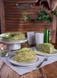 crepe cake with green matcha tea - 250395727