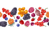 Seamless border with hand drawn berries - 250406752