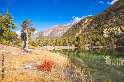 Lake Mricho Tal with emerald water near Pisang. Himalaya mountains, Nepal © Crazy nook