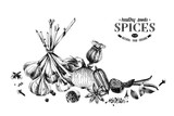 Hand drawn spices border. Can be used for poster, banner, placard or menu design - 250407757