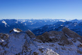 View over the swiss alps from the top of Säntis