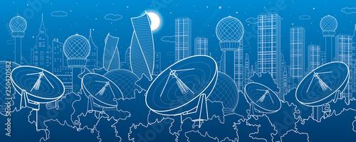 Satellite dishes in the woods, antenna  communication technology, weather station, radar installations, night city, urban scene, vector design art - 250420582