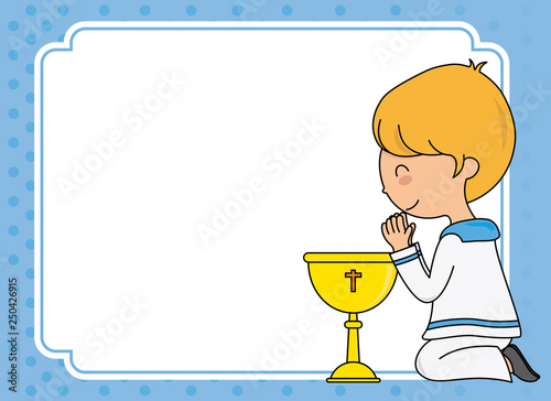 First communion card. Boy praying. Space for text