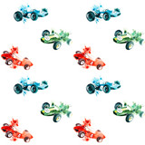 watercolor painted sport formula 1 sketch hand-drawn vintage retro green, blue, red race cars isolated on white background seamless pattern