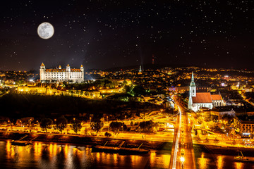 Beautiful panorama of  Bratislava Downtown.View of night town.Cityscape at twilight.Traveling concept background.The landscape of the old historical city.Architecture,  buildings Slovakia,Europe