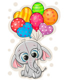 Cartoon elephant with balloons on white background