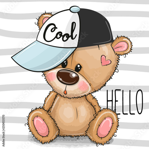 Cartoon Cool Teddy Bear with a pink cap on striped background