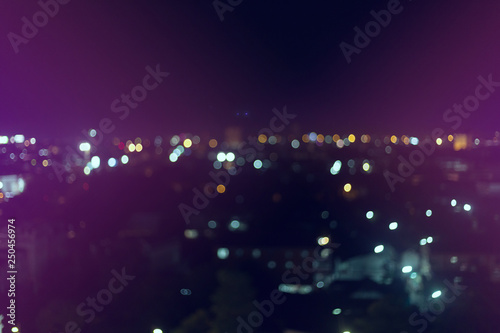 colorful night light in the city, image blur nightlife background