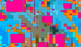 Abstract mosaic digital squares background pattern illustration - 250460165
