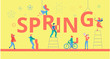 Spring yellow poster with happy people building figures.