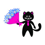 Cute cat in black with a bright bouquet of flowers on a white background.