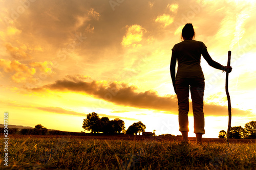 Pilgrim woman at Sunset © by-studio