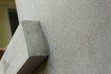 window frame on cement wall inside construction site building industry