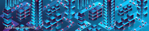 Smart city. Isometric big data concept, database.  Abstract technology background. Vector illustration - 250484124