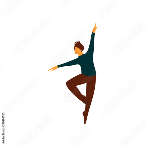 Male Ballet Dancer Performing Classical Ballet Dance Vector Illustration © topvectors