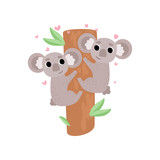 Two Cute Baby Koala Bears Climbing Tree, Lovely Funny Grey Animals Characters Vector Illustration