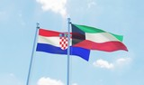 Kuwait and Croatia, two flags waving against blue sky. 3d image