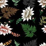 Flowers seamless leaf and branches pattern design