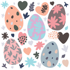 Set of Easter design elements. Eggs, flowers, branches, hearts, patterns. Perfect for holiday decoration and spring greeting cards