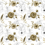 Watercolor and sketch floral seamless pattern. Hand painted monochrome and sketch flowers, berries with eucalyptus leaves and branch isolated on white background for design, print or fabric. - 250508556