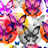 Seamless pattern of butterflies and watercolor stains. Flight. Decorative background.