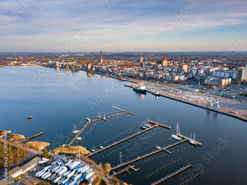 port of rostock, aerial view of rostock, view over the river warnow © tl6781