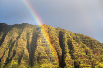 Waianae mountains in Oahu with a beautiful rainbow