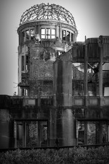 The Atomic Bomb Dome in black and white in Hiroshima, Japan.