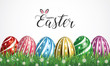 Happy Easter Greeting Card. 3D Easter eggs for Holiday background. Vector illustration