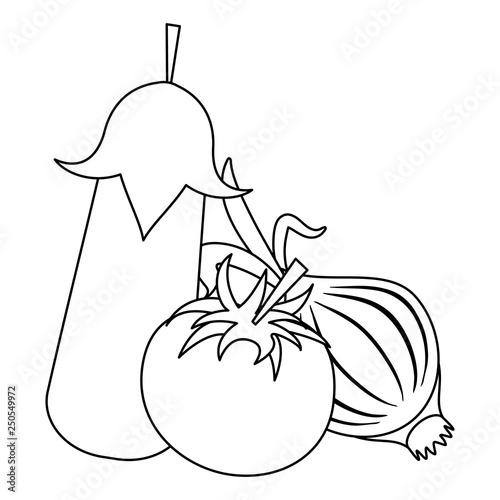 Fresh vegetables cartoon black and white