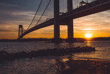 Verrazzano-Narrows bridge in Brooklyn, NYC at sunset