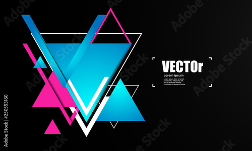 Abstract geometric vector background with triangles. - Vector - 250553160