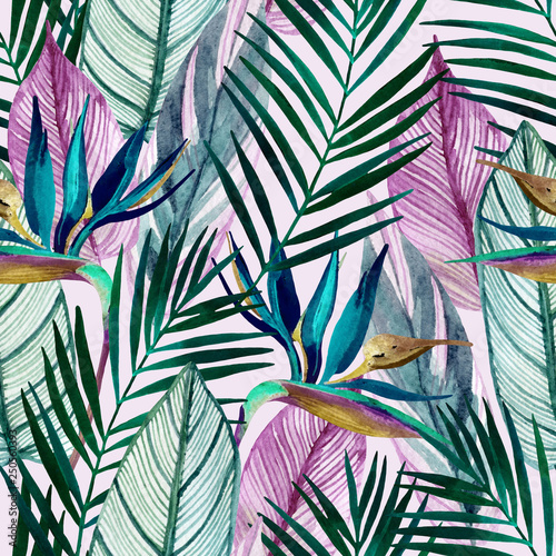 Watercolor tropical seamless pattern with bird-of-paradise flower, palm leaves - 250560393