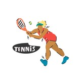 Handdrawn vector illustration of a girl-tennis player. Cartoon sketch drawing.